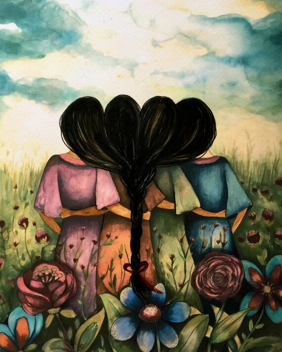 The four sisters black hair best friends brisdemaid present  art print