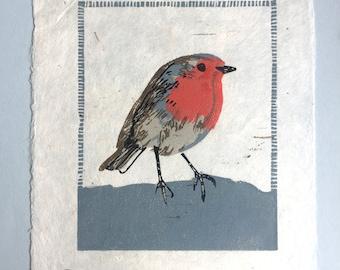 Red Robin - Original Linocut Print - 15x20 cm - Proof // Art, Printmaking, Wall Art, Linoprint, Print, Bird