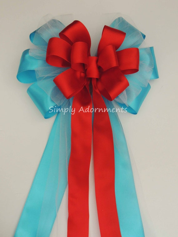 Turquoise Red Wedding Bow Blue Red Wedding Pew Bow Turquoise