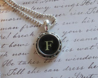 The Letter F Vintage Typewriter Key Pendant Necklace