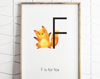 Fox woodland nursery decor, fox printable gift, fox artwork, woodland nursery wall art, F is for fox print download