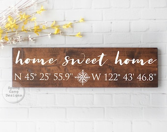 home sweet home | longitude latitude sign | GPS sign | coordinates sign | custom coordinates | wedding shower gift | GPS coordinates sign