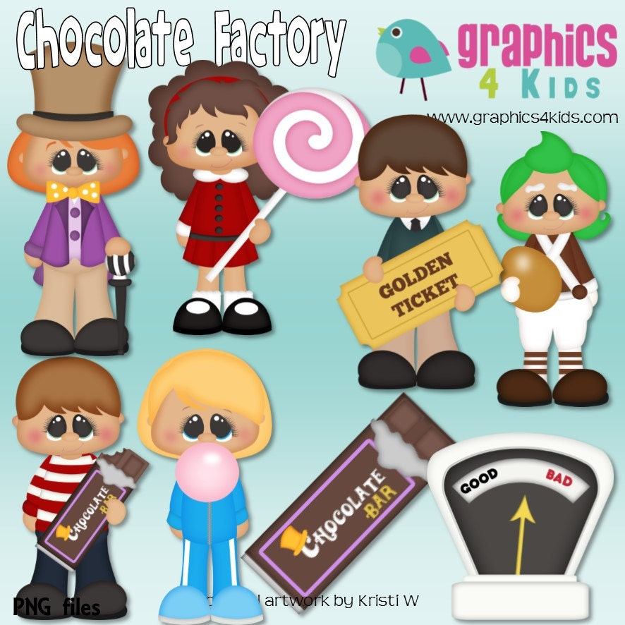 chocolate factory willy wonka digital clipart clip art for rh etsy com willy wonka hat clip art willy wonka candy clip art