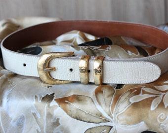 Leather Belt Women White Vintage Gold Buckle