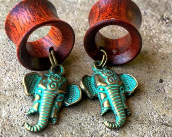 """Vintage Patina Elephant Wooden Dangle Tunnels 2g(6mm) through 1"""" / Bohemian Plugs/ Wooden  Ear Gages/ Dangle Gauges/ Organic/ Hippie/"""