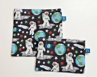 Reuseable Eco-Friendly Set of Snack and Sandwich Bags in Astronaut Fabric