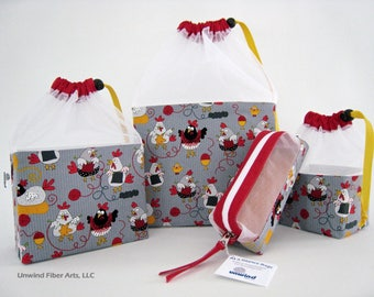 Large/Med/Small & Zippered Accsy Knitting Chickens At a Glance Knitting/Crochet/Spinning Project Bags
