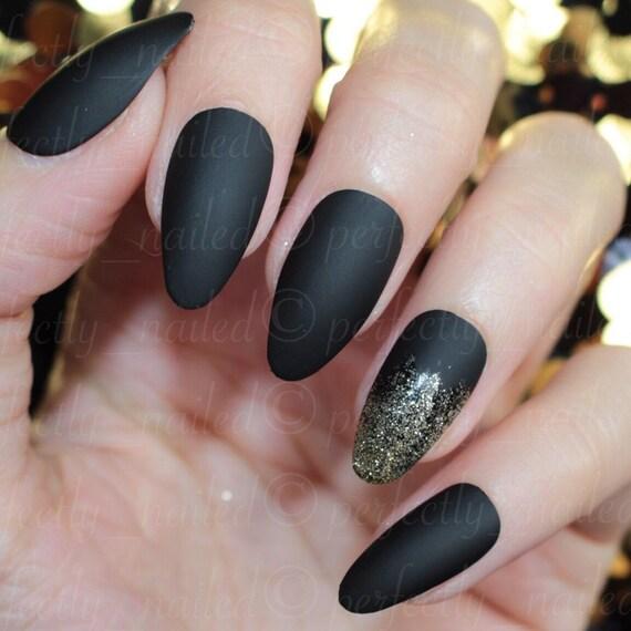 Matte black and gold glitter tipped ring finger • Handpainted False ...