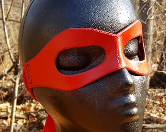READY TO SHIP Red Molded Leather Mask with Cloth Tie - Superhero Pirate Comic Ninja Costume