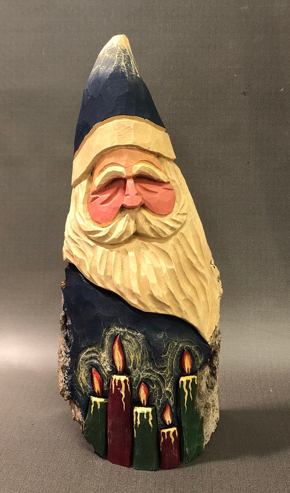 HAND carved original candle light Santa from 100 year old Cottonwood Bark.