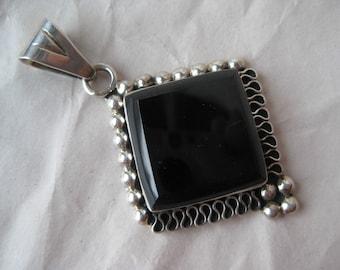 Onyx Square Filigree Sterling Pendant Stone Silver Vintage 925 Black Mexico