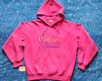 Vintage WILSON Embroidered Big logo / If You Want Sports Feeling You Only Need WILSON / Hooded Sweatshirts