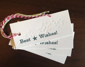 Letterpress Gift Tags - Holiday Best Wishes Stars