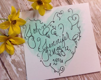 Custom Wedding Calligraphy Logo ~ Thank You Favor Tag ~ Handwritten ~ Affordable ~ Hand Painted Watercolor ~ Heart ~ Reproducible