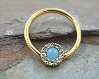Rook Daith Septum Gold Cartilage Hoop Opal Nipple Conch