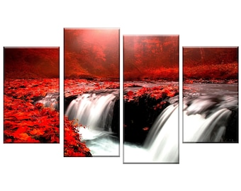Red forest autumn waterfalls canvas wall art picture 4 panel split art