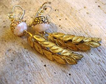 Prosecco Vintage Bead Earrings. brass leaf dangle earrings,bride, bridesmaids, wedding jewelry