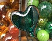 Deep Teal Glass Heart wit...