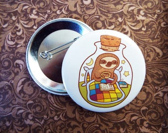 Sloth in a Bottle Button Pin