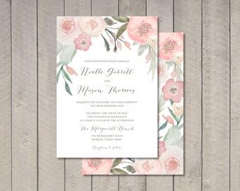 Blush Floral Wedding Invitation (Printable) DIY by Vintage Sweet