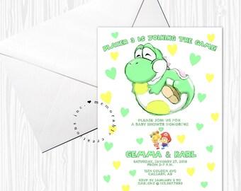 DIGITAL/PRINT-YOURSELF - Yoshi/Mario Baby Shower Invitation