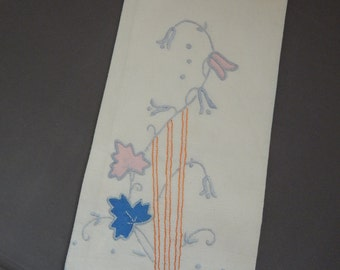 Vintage Appliquie Tea Towel with Flowers
