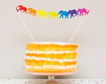 Elephant Cake Topper - Cake Bunting - Cake Topper - Rainbow Cake Topper - Elephant Baby Shower - Baby Cake Topper - Party Decoration