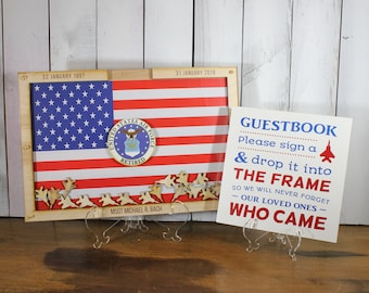 Personalized Guest Book/Flag/Air Force/Navy/Army/Coast Guard/Patriotic/Military/Retirement/Guest Book/Wood Shape/Planes