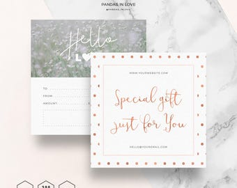 Gift Card Template Gift Certificate Printable, Elegant Gift Card, Photography Branding, Photographer Templates, Photoshop Template Gift Card