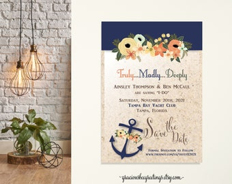 Save the Date Cards, Engagement Announcement Cards, Wedding Announcement, Eloped Post Wedding Announcement, beach, anchor, destination