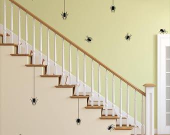 Spider Decal Set - Halloween Wall Decal - Spider Wall Sticker