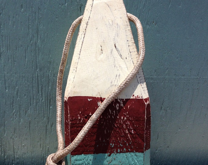 Beach Decor, Lobster Buoy, White, Dark Red, Blue, Nautical Wooden by SEASTYLE