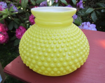 Vintage Yellow Hobnail Glass Lamp Shade