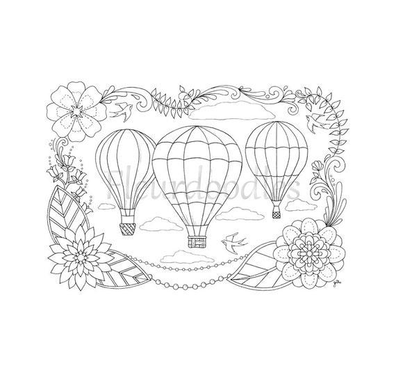 Ähnliche Artikel wie Heißluftballons - Malseite für Erwachsene ...
