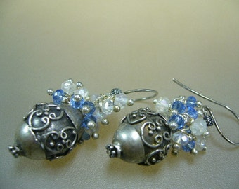 Moonstone Blue Quartz Sterling Silver Wire Wrapped Earrings