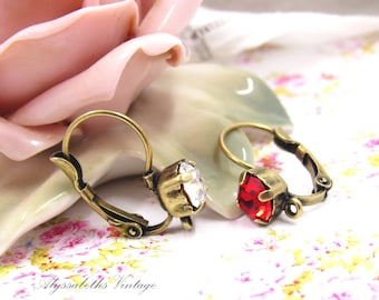 Antique Brass & Rhinestone Lever Back Earrings with Loop, 6mm Round Stone Color Choice Swarovski or Preciosa Ear Wires with Ring – Pair