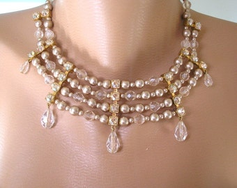 Mother of the bride, Mocha Pearls, Choker, Pearl Necklace, Bridal Statement Necklace, Pearl and Rhinestone, Vintage Bridal, Great Gatsby
