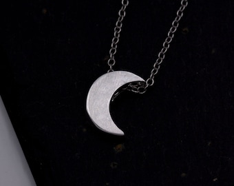Sterling Silver Crescent Moon Pendant Necklace - Brushed Textured Finish  z106