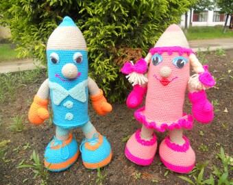 CROCHET PATTERN Crochet kids-pencils, girl and boy, instant download file PDF-file