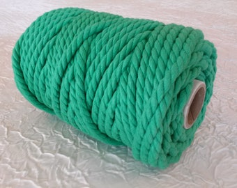 Cotton cord. Twisted cotton cord. Cotton rope. Macrame rope - spool of 100% cotton rope - 5 mm - vivid green.