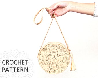 Crochet Bag Pattern, Raffia Bag, Round Bag, Shoulder Strap Purse, Straw circule bag, Summer Bag, Circle purse, Purse, Download PDF