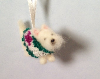 Westie miniature ornament - wearing a knit sweater- ready to ship