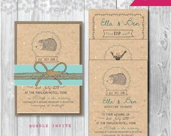 Bundle Invitation - A6 or A5 Rustic Wedding Invitation - Woodland Wedding