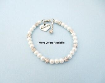 Custom Color Bridesmaid Pearl & Crystal Charm Bracelet-Bridesmaid jewelry-Bridesmaid bracelet-Bridesmaid gift-Bridal gifts-Weddings, B1571