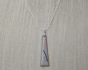 Elegant Modern Enameled Copper Pendant with Sterling Silver Chain