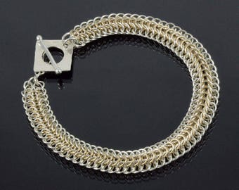 Handmade Two-Tone Delicate Persian Dragonscale Chainmaille Bracelet