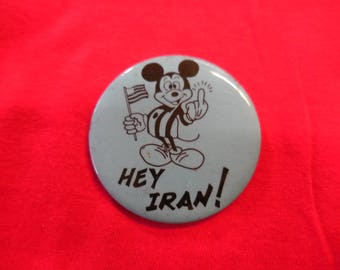 Anti Iran Pin Back Button 70s 80s Hostage Crisis Mickey Mouse Middle Finger