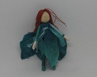 Christmas Fairy -Teal Poinsettia Fairy - Waldorf Flower Fairy Doll - Christmas ornament