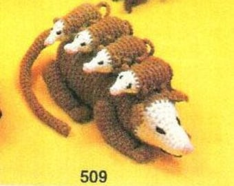 Vintage Crochet Pattern Opossum Family Possom Mama & Babies Passel PDF Instant Digital Download Amigurumi Plush Stuffed Toy Opossum