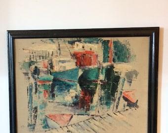 Modern Abstract Wharf Scene Painting